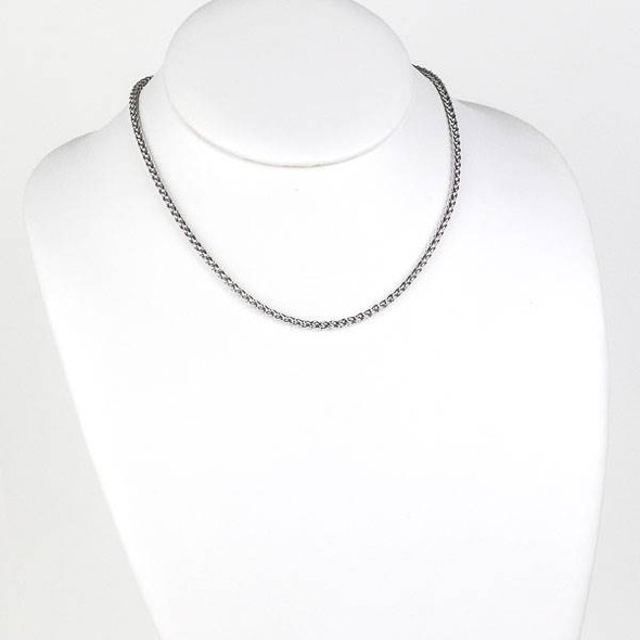 Silver Stainless Steel 3mm Spiga/Wheat Chain Necklace - 16 inch, SS02s-16