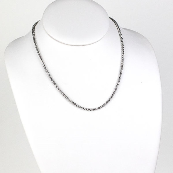 Silver Stainless Steel 3mm Spiga/Wheat Chain Necklace - 18 inch, SS02s-18