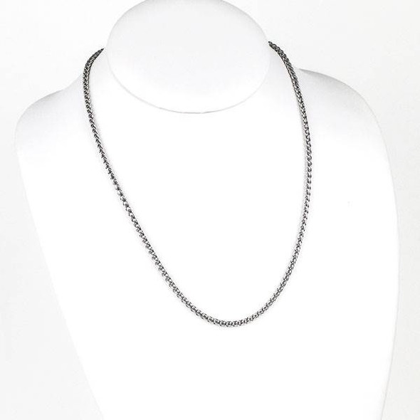 Silver Stainless Steel 3mm Spiga/Wheat Chain Necklace - 20 inch, SS02s-20