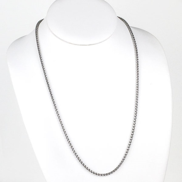 Silver Stainless Steel 3mm Spiga/Wheat Chain Necklace - 24 inch, SS02s-24
