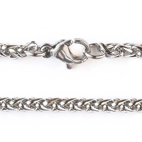Silver Stainless Steel 3mm Spiga/Wheat Chain Necklace - 32 inch, SS02s-32