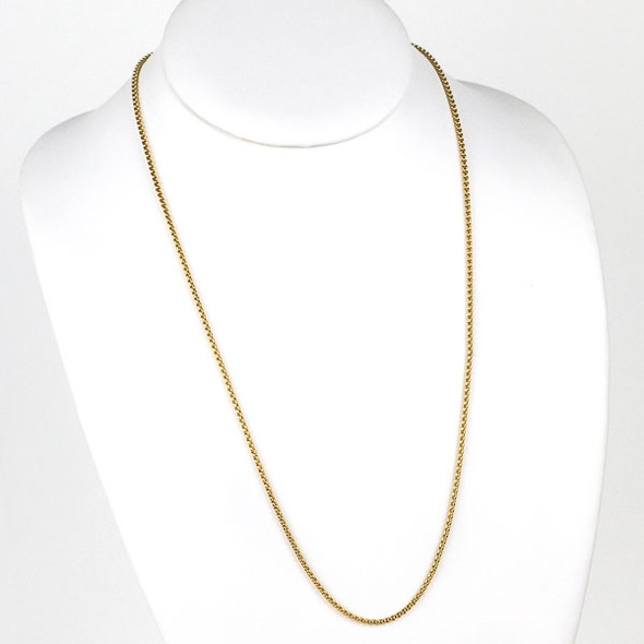 Gold Stainless Steel 2mm Cable Chain Necklace - 24 inch, SS03g-24