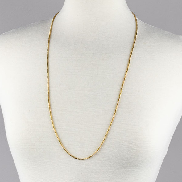 Gold Stainless Steel 2mm Cable Chain Necklace - 32 inch, SS03g-32