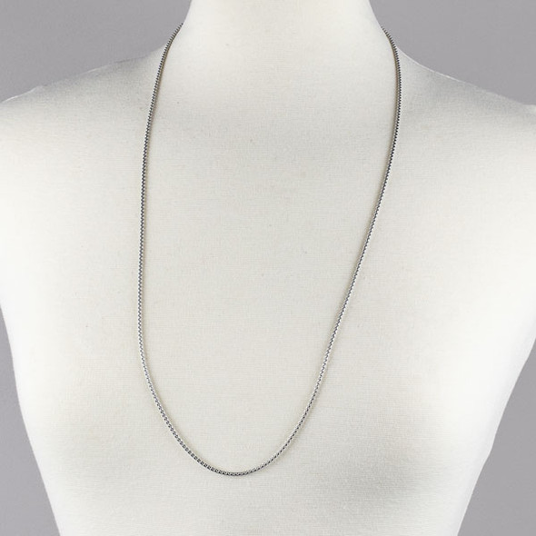 Silver Stainless Steel 2mm Cable Chain Necklace - 32 inch, SS03s-32
