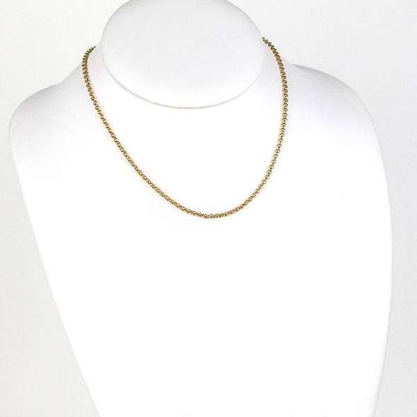 Gold Stainless Steel 2mm Rolo Chain Necklace - 16 inch, SS04g-16