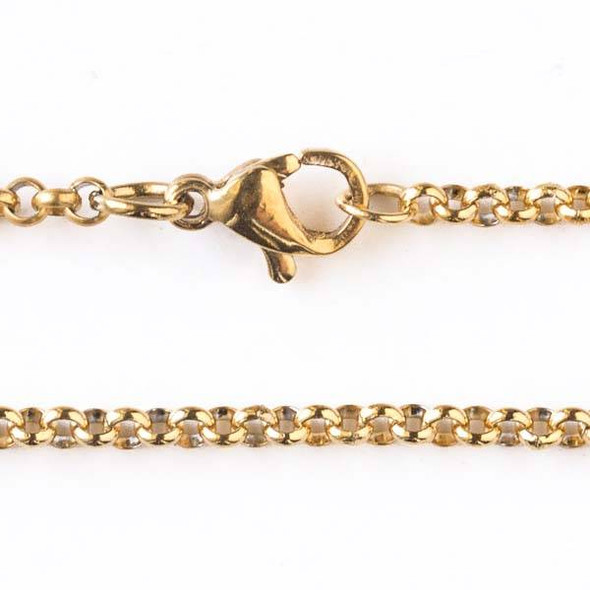Gold Stainless Steel 2mm Rolo Chain Necklace - 18 inch, SS04g-18