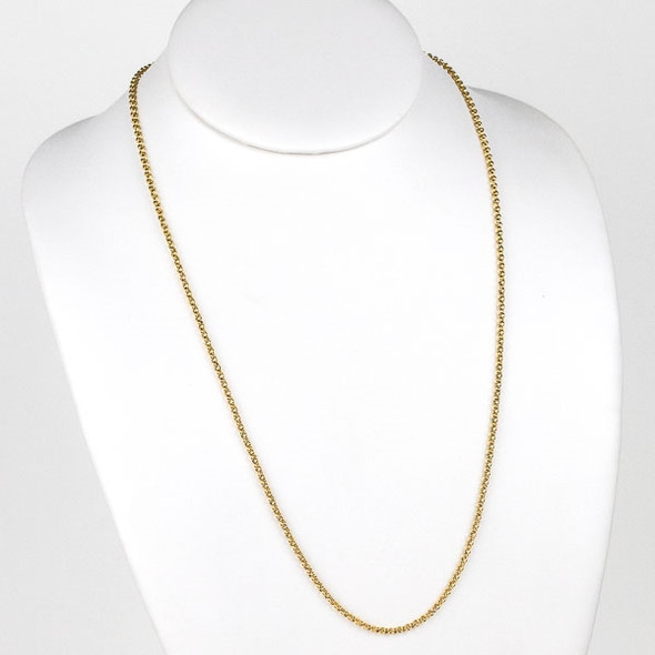 Gold Stainless Steel 2mm Rolo Chain Necklace - 24 inch, SS04g-24