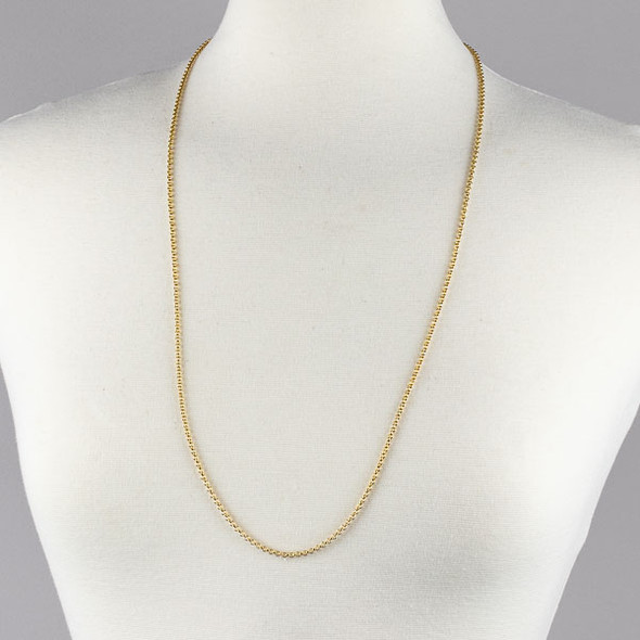 Gold Stainless Steel 2mm Rolo Chain Necklace - 32 inch, SS04g-32