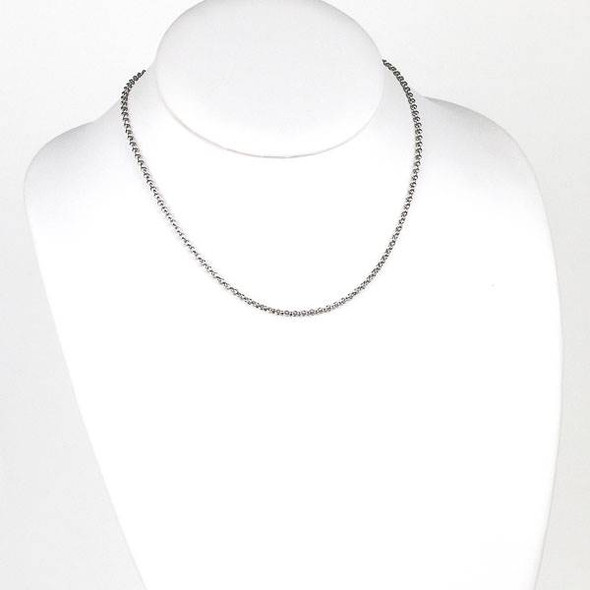 Silver Stainless Steel 2mm Rolo Chain Necklace - 16 inch, SS04s-16