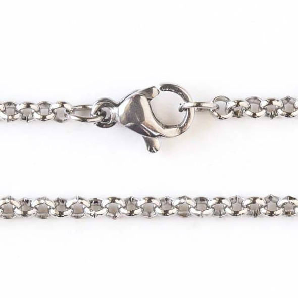 Silver Stainless Steel 2mm Rolo Chain Necklace - 18 inch, SS04s-18