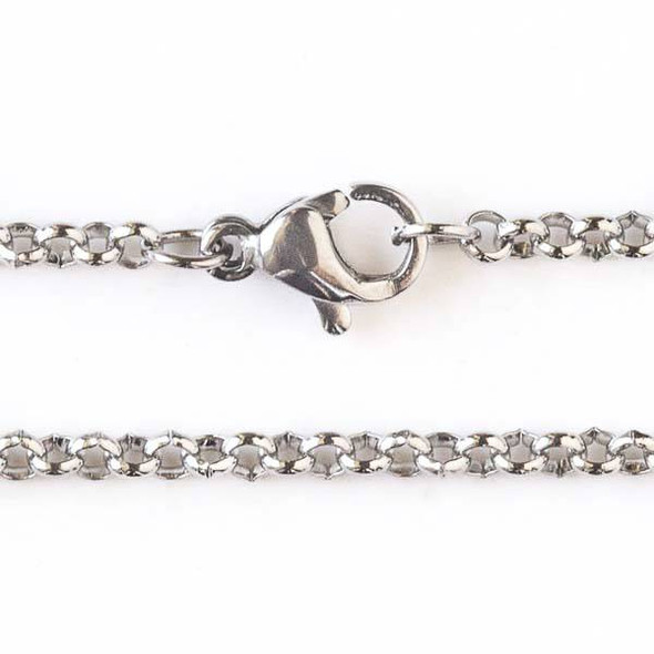 Silver Stainless Steel 2mm Rolo Chain Necklace - 24 inch, SS04s-24