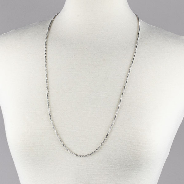 Silver Stainless Steel 2mm Rolo Chain Necklace - 32 inch, SS04s-32