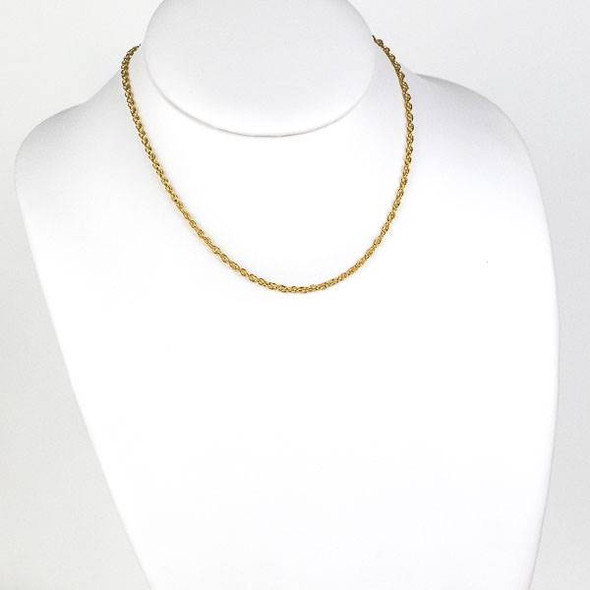 Gold Stainless Steel 2.5mm Rope Chain Necklace - 16 inch, SS05g-16
