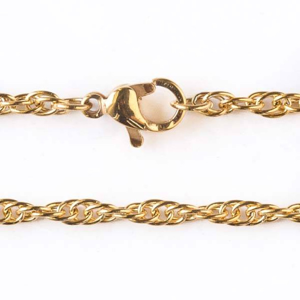Gold Stainless Steel 2.5mm Rope Chain Necklace - 18 inch, SS05g-18