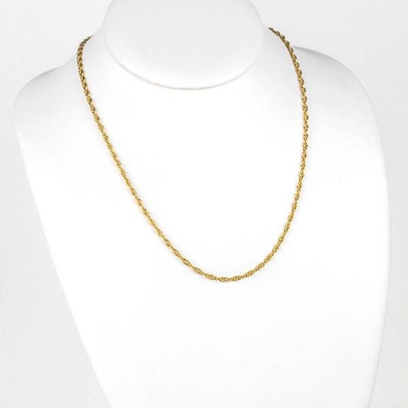Gold Stainless Steel 2.5mm Rope Chain Necklace - 20 inch, SS05g-20