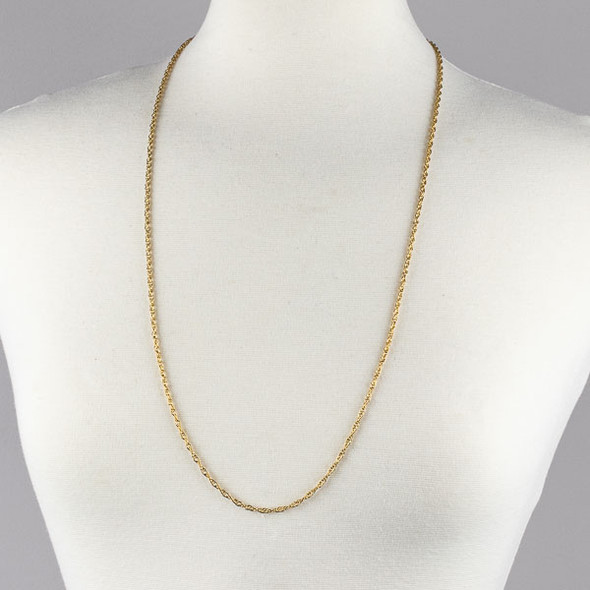 Gold Stainless Steel 2.5mm Rope Chain Necklace - 32 inch, SS05g-32