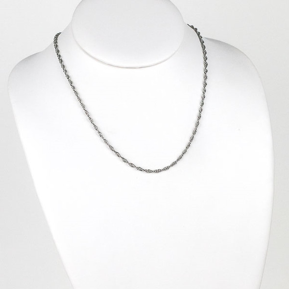 Silver Stainless Steel 2.5mm Rope Chain Necklace - 18 inch, SS05s-18