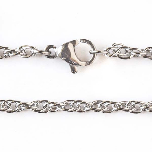 Silver Stainless Steel 2.5mm Rope Chain Necklace - 20 inch, SS05s-20