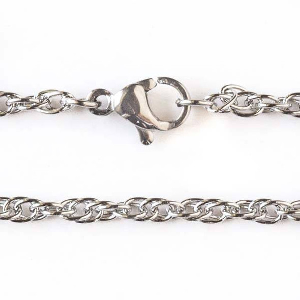 Silver Stainless Steel 2.5mm Rope Chain Necklace - 32 inch, SS05s-32