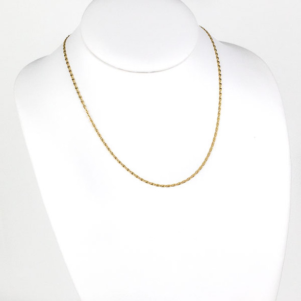 Gold Stainless Steel 2mm Snail Chain Necklace - 18 inch, SS06g-18