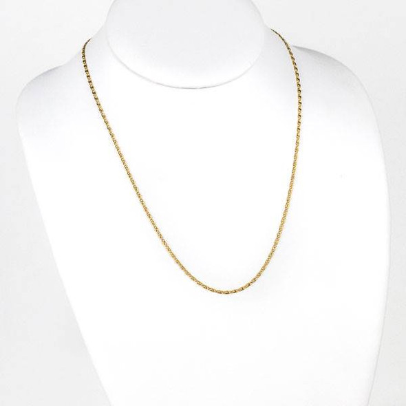 Gold Stainless Steel 2mm Snail Chain Necklace - 20 inch, SS06g-20