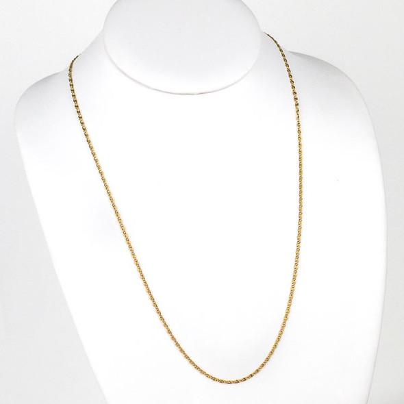 Gold Stainless Steel 2mm Snail Chain Necklace - 24 inch, SS06g-24