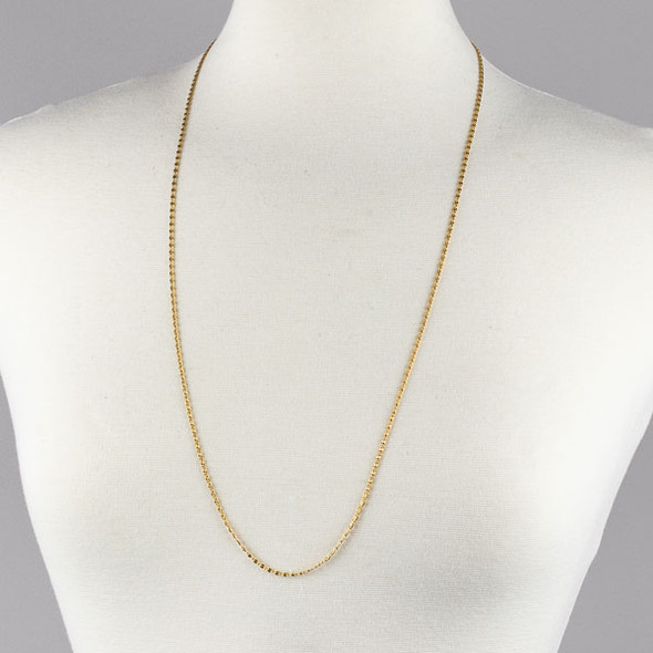 Gold Stainless Steel 2mm Snail Chain Necklace - 32 inch, SS06g-32
