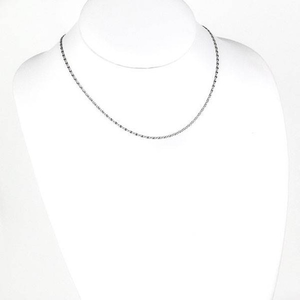Silver Stainless Steel 2mm Snail Chain Necklace - 16 inch, SS06s-16