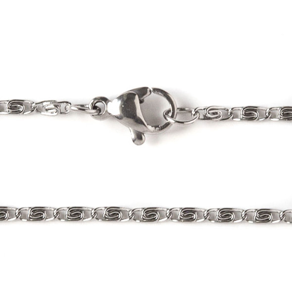 Silver Stainless Steel 2mm Snail Chain Necklace - 20 inch, SS06s-20
