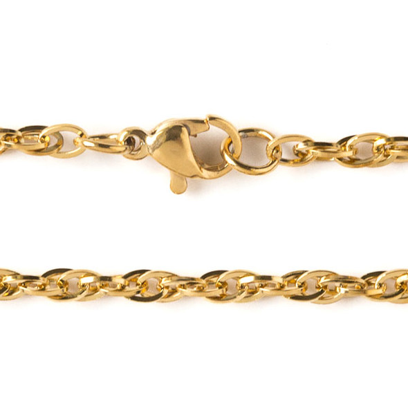 Gold Stainless Steel 3mm Rope Chain Necklace - 16 inch, SS08g-16