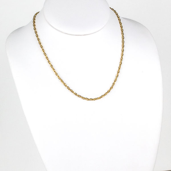 Gold Stainless Steel 3mm Rope Chain Necklace - 18 inch, SS08g-18