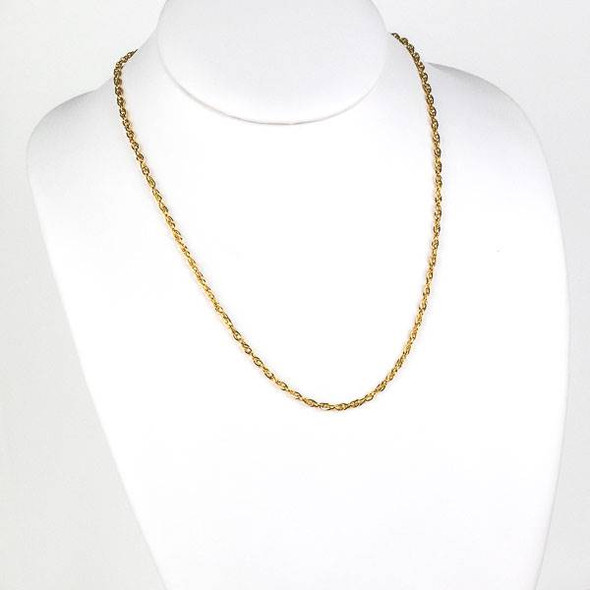 Gold Stainless Steel 3mm Rope Chain Necklace - 20 inch, SS08g-20