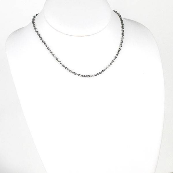 Silver Stainless Steel 3mm Rope Chain Necklace - 16 inch, SS08s-16
