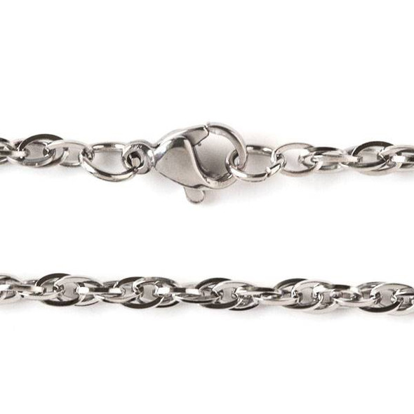 Silver Stainless Steel 3mm Rope Chain Necklace - 18 inch, SS08s-18