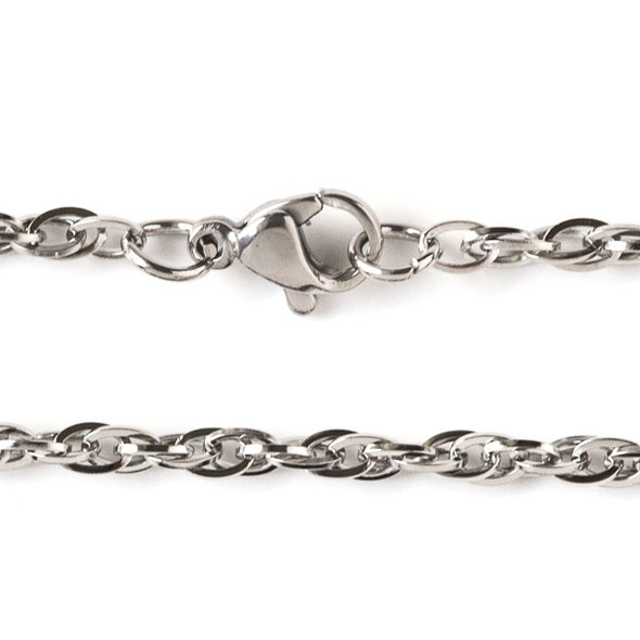 Silver Stainless Steel 3mm Rope Chain Necklace - 20 inch, SS08s-20