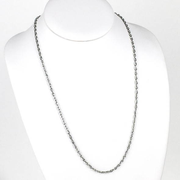 Silver Stainless Steel 3mm Rope Chain Necklace - 24 inch, SS08s-24