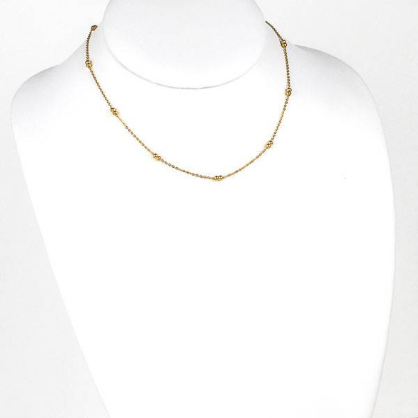 Gold Stainless Steel 3mm Ball and Curb Chain Necklace - 16 inch, SS09g-16