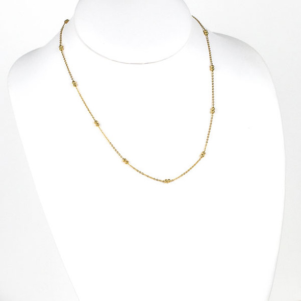 Gold Stainless Steel 3mm Ball and Curb Chain Necklace - 18 inch, SS09g-18