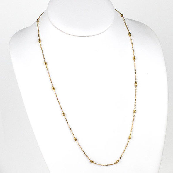Gold Stainless Steel 3mm Ball and Curb Chain Necklace - 24 inch, SS09g-24