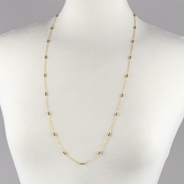 Gold Stainless Steel 3mm Ball and Curb Chain Necklace - 32 inch, SS09g-32