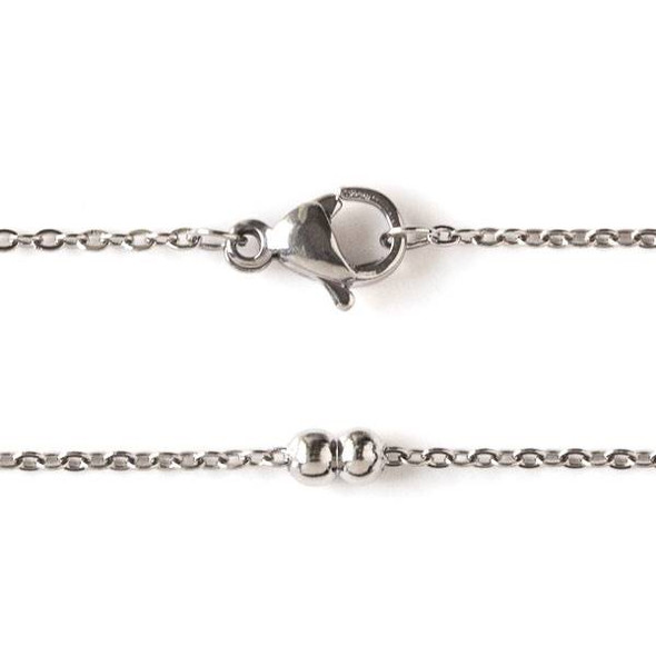 Silver Stainless Steel 3mm Ball and Curb Chain Necklace - 18 inch, SS09s-18