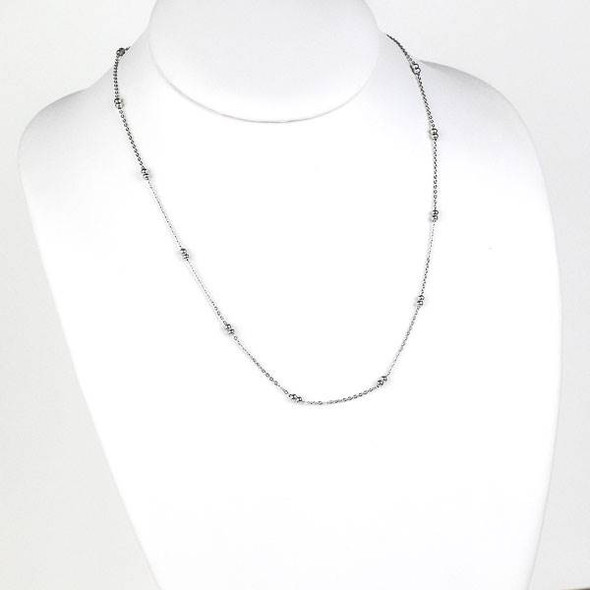 Silver Stainless Steel 3mm Ball and Curb Chain Necklace - 20 inch, SS09s-20