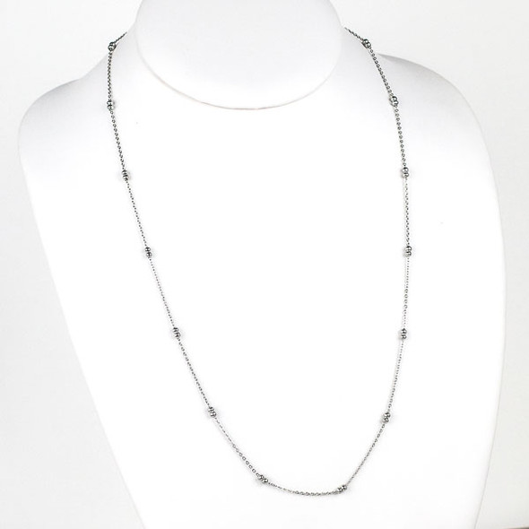 Silver Stainless Steel 3mm Ball and Curb Chain Necklace - 24 inch, SS09s-24