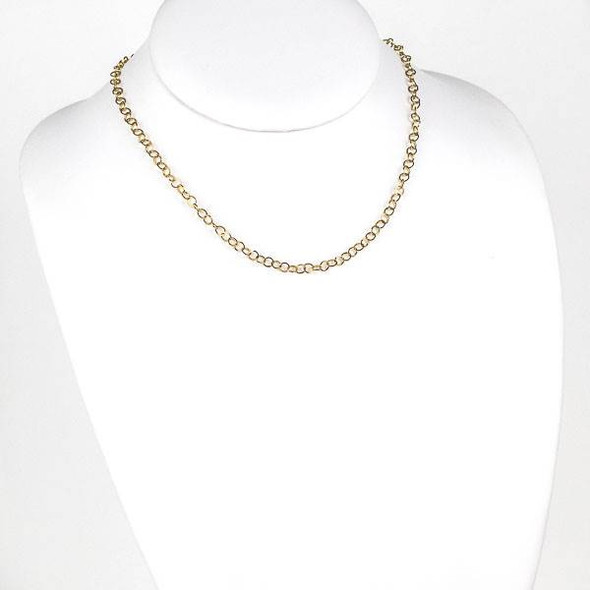 Gold Stainless Steel 4mm Cable Chain Necklace - 16 inch, SS10g-16