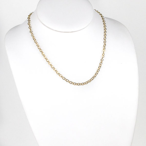 Gold Stainless Steel 4mm Cable Chain Necklace - 18 inch, SS10g-18