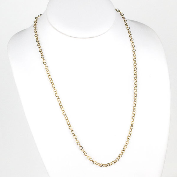 Gold Stainless Steel 4mm Cable Chain Necklace - 24 inch, SS10g-24