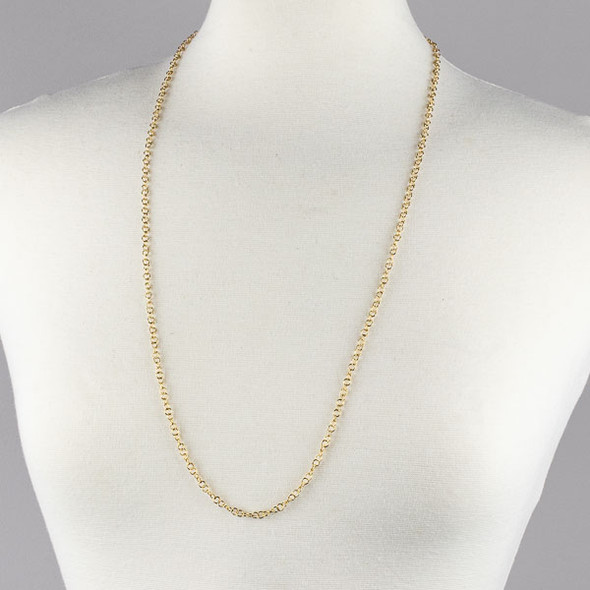 Gold Stainless Steel 4mm Cable Chain Necklace - 32 inch, SS10g-32