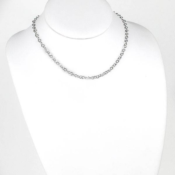 Silver Stainless Steel 4mm Cable Chain Necklace - 16 inch, SS10s-16
