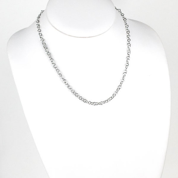 Silver Stainless Steel 4mm Cable Chain Necklace - 18 inch, SS10s-18