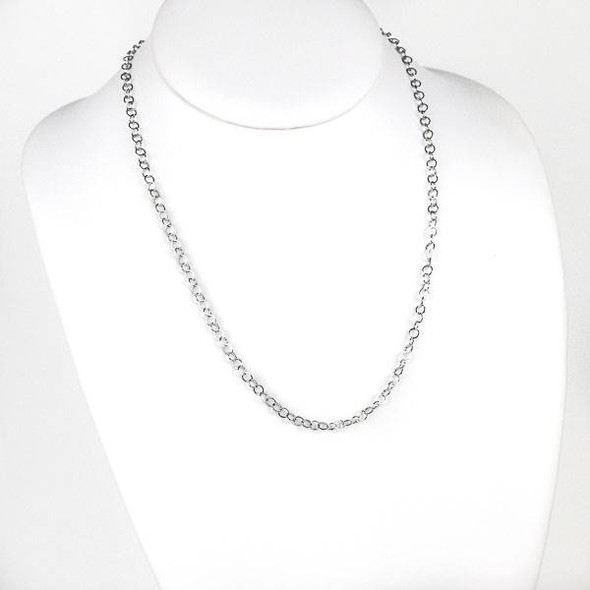 Silver Stainless Steel 4mm Cable Chain Necklace - 20 inch, SS10s-20
